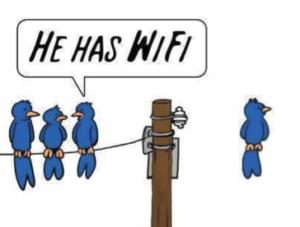 """Karikaturtegning av fugler. Noen sitter på en luftledning, mens én av dem sitter i luften. De på en ledning konstaterer at """"He has a wifi""""."""