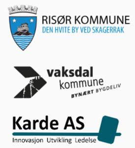Logoene til Risør kommune, Vaksdal kommune og Karde AS